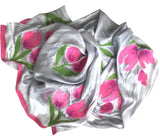 HANDCRAFTED BY 7 SISTERS — SILK & FELTED WOOL GRAY, PINK & GREEN TULIP-PATTERNED LONG SCARF/SHAWL