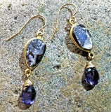 Grey Drusy and Violet Iolite Earrings