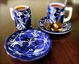 HANDCRAFTED — CHARMING SMALL CUP AND SAUCERS FOR DRINKING CHOCOLATE OR EXPRESSO — SET OF 2