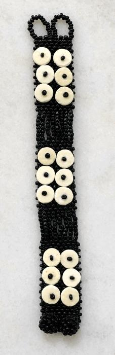 BLACK SKOONHEID 2-ROW OSTRICH EGG SHELL BEADED BRACELET — By OMBA Arts Trust