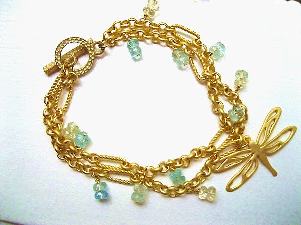Dragonfly and Aquamarine Gemstone Bracelet