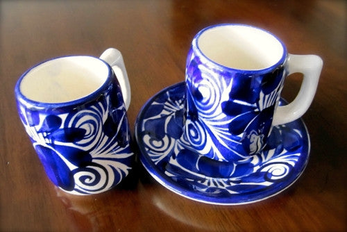 HANDCRAFTED — Charming Small Cup and Saucers for Drinking Chocolate or Expresso — Set of or 4