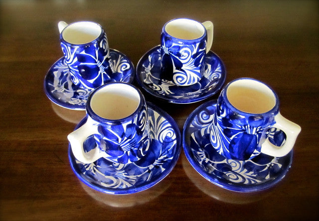 HANDCRAFTED — Charming Small Cup and Saucers for Drinking Chocolate or Expresso — Set of 4