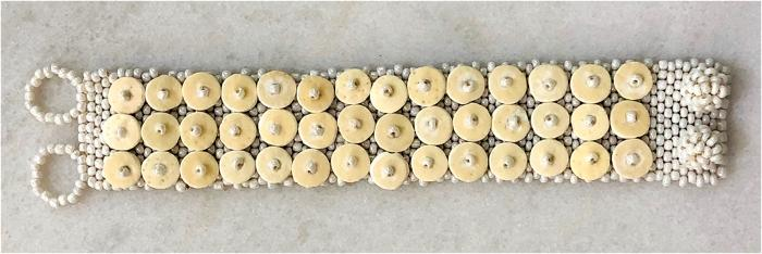PEARL-COLOR SKOONHEID 3-ROW OSTRICH EGG SHELL BEADED BRACELET — BY OMBA Arts Trust