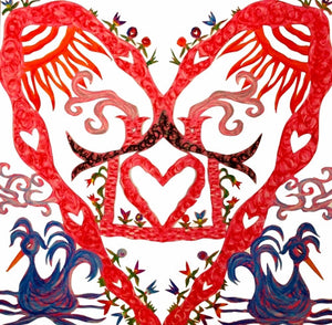ARTIST HANDCRAFTED — Dana's Hand-Cut, Hand-Colored Heart Full Heart No. 6