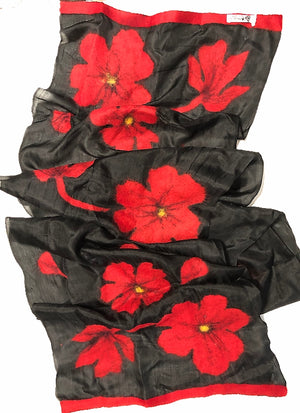 HANDCRAFTED BY 7 SISTERS — SILK & FELTED WOOL BLACK WITH RED POPPIES LONG SCARF/SHAWL