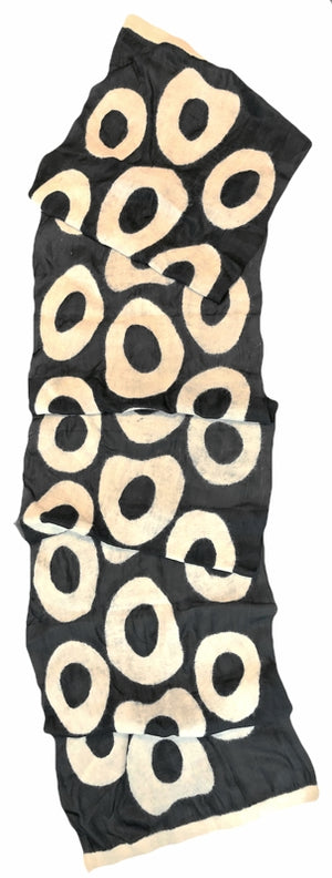 7 SISTERS — Silk & Wool Felted Black & Cream Circle-Patterned Long Scarf/Shawl