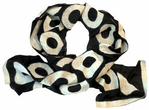 ARTISAN CRAFTED BY 7 SISTERS — SILK & FELTED WOOL BLACK AND CREAM CIRCLES-PATTERNED LONG SCARF/SHAWL
