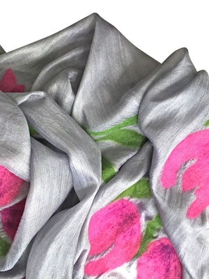 7 SISTERS — SILK & FELTED WOOL TULIP-PATTERNED, GRAY and PINK LONG SCARF/SHAWL