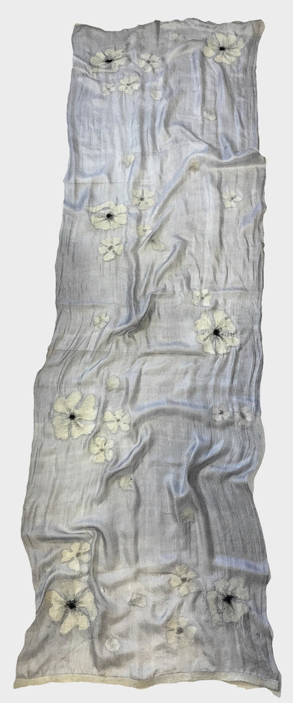 7 SISTERS — SILK & FELTED WOOL GRAY, BLACK & WHITE FLOWER-PATTERNED LONG SCARF/SHAWL