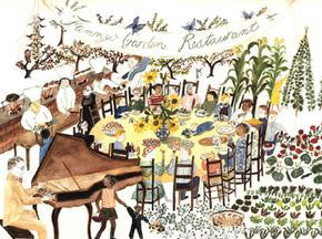 Ann Arnold illustrations in Fanny at Chez Panisse - A Child's Restaurant Adventure with 46 recipes