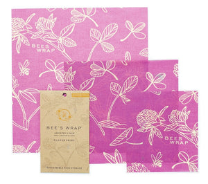 BEE'S WRAP CLOVER PRINT IN MIMI'S PURPLE - ASSORTED SET OF 3 SIZES (S, M, L)