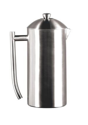 DOUBLE WALL, BRUSHED STAINLESS STEEL FRENCH PRESS - Brushed Finish - 36-ounces — BY FRIELING