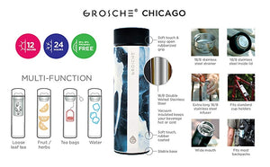 CHICAGO Double-Walled Vacuum Insulated, Soft-Touch Black Travel Infuser / Mug - Water Coffee Tea & More — By Grosche