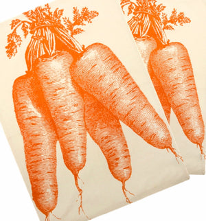 Set of 2 Simrin Hand-screened, Hand-sewn Bunch of Carrots Dish Towels