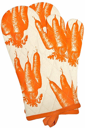 Set of 2 Simrin Hand-Screend, Hand-Sewn Carrot Oven Mitts
