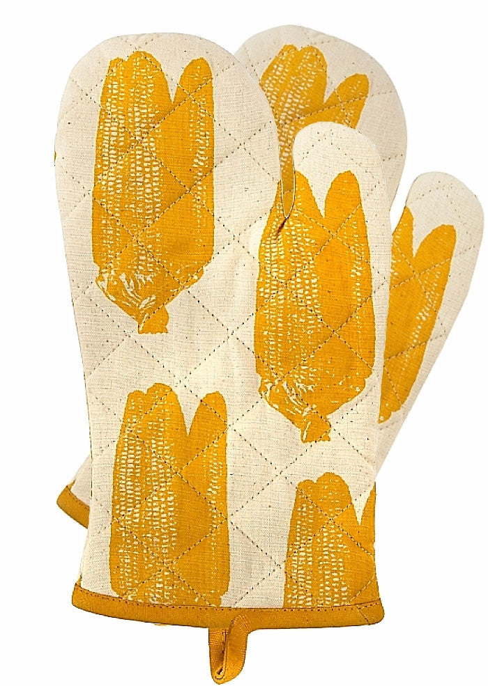 Set of 2 Simrin Hand-Screened, Hand-Sewn Corn Oven Mitts