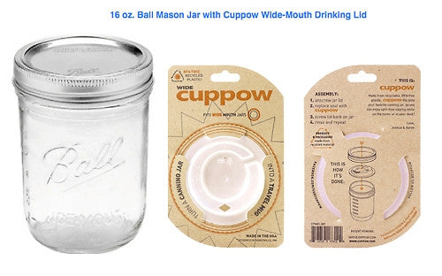 Drinking Lid by Cuppow + 16 oz. Ball Mason Jar Bundle