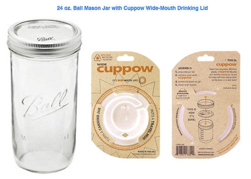 Drinking Lid by Cuppow + 24 oz. Tall Boy Ball Mason Jar Bundle