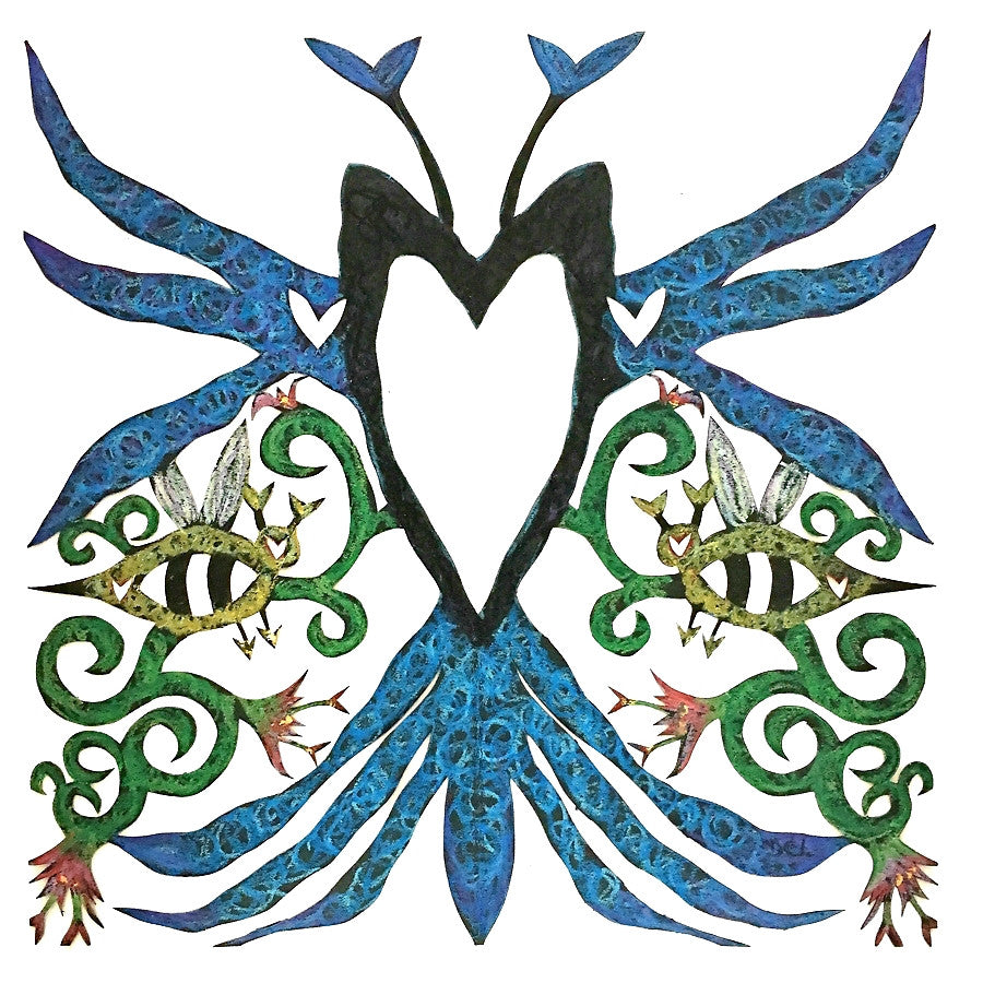 ARTIST HANDCRAFTED — Dana's Hand-Cut, Hand-Colored Heart Full Blue Bee Heart