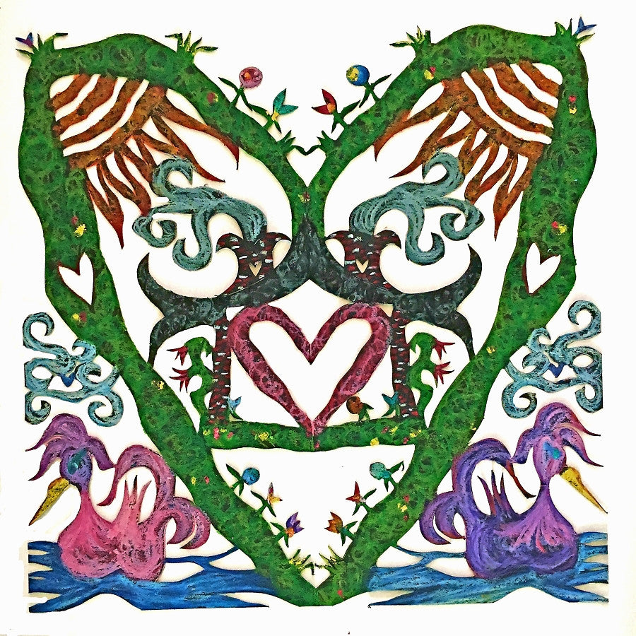 ARTIST HANDCRAFTED — Dana's Hand-Cut, Hand-Colored Heart Full Swan Heart