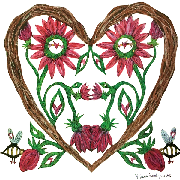 ARTIST HANDCRAFTED — Dana's Hand-Cut, Hand-Colored Heart Full Wood Flowers Heart