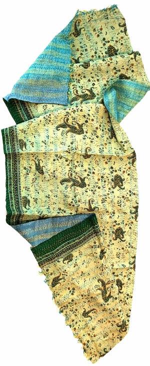 Double-sided Silk Sari Kantha Stitched Scarf (Blues, greens Paisley Print) —  The Red Sari