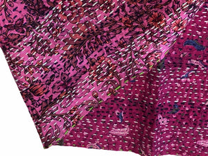 Double-sided Silk Sari Kantha Stitched Scarf (Pink, Magenta, Blues) — The Red Sari