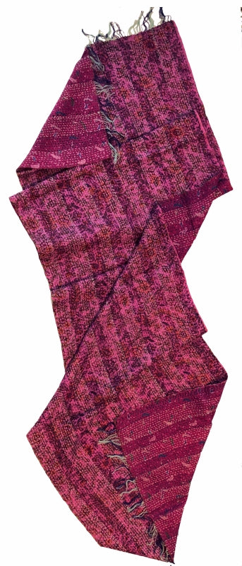 Double-sided Silk Sari Kantha Stitched Scarf (Pink, Magenta Blues) The Red Sari