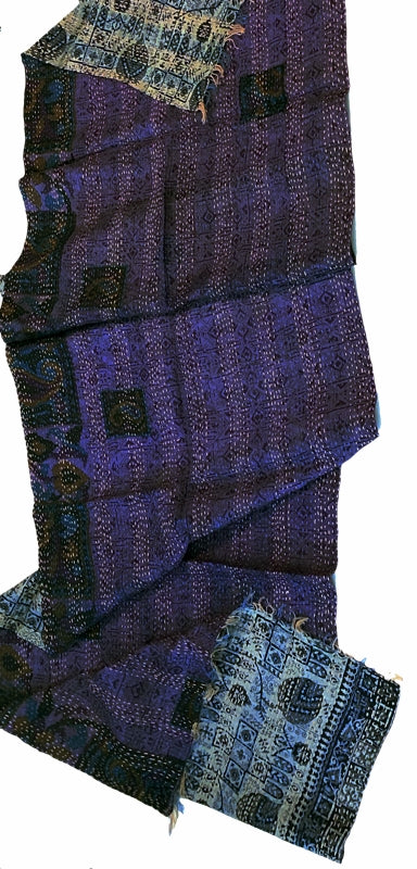 Double-sided Silk Sari Kantha Stitched Scarf (Purple, Blues, Grays) The Red Sari