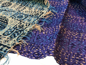Double-sided Silk Sari Kantha Stitched Scarf (Purple, Blues, Grays) — The Red Sari