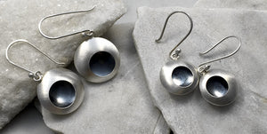 EMMA TALLACK JEWELRY — Handcrafted Double-Domed, Brushed Sterling Silver Dangling Earrings with Oxidized Centers — 1.5 centimeters
