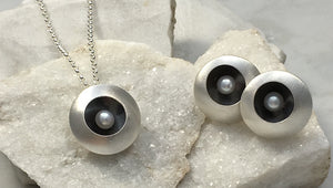 Emma Tallack Double Domed Brushed Sterling Silver Fresh-Water Cultured White Button Pearl Earrings and Matching Pendant