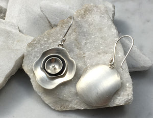 EMMA TALLACK JEWELRY — Handcrafted Triple Layer Petals Brushed Sterling Silver Dangling Earrings