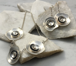 Emma Tallack Triple Layer Petals Brushed Silver Dangling Earrings and Matching Pendant