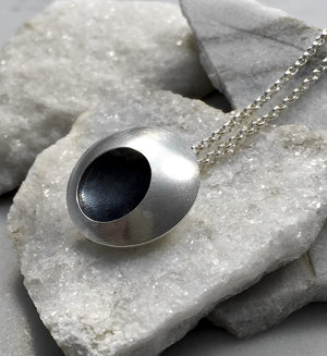 EMMA TALLACK JEWELRY —  Handcrafted Double-Domed, Brushed Sterling Silver Pendant with Oxidized Center — 2.0 centimeters