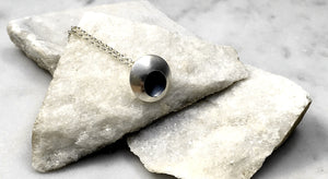 EMMA TALLACK JEWELRY —  Handcrafted Double-Domed, Brushed Sterling Silver Pendant with Oxidized Center — 1.5 centimeters