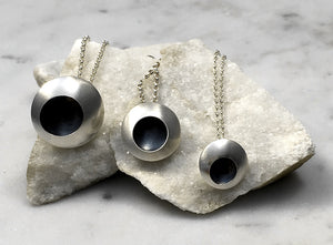 Emma Tallack Double-Domed Sterling Silver Necklace with Oxidized Center - Available in 3 Sizes