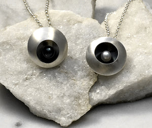 Emma Tallack Double Domed Sterling Silver and Pearl Necklaces