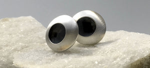 EMMA TALLACK JEWELRY — Handcrafted Double-Domed, Brushed Sterling Silver Stud Earrings with Oxidized Centers — 1.2 centimeters