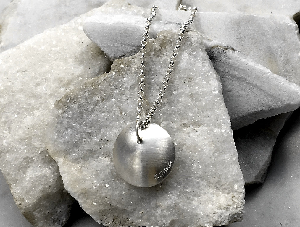 EMMA TALLACK JEWELRY —  Handcrafted Double-Domed, Brushed Sterling Silver and Raven Button Pearl Pendant / Necklace with Brushed Silver Center — 1.5 centimeters