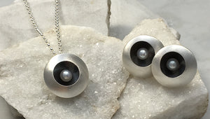 Emma Tallack Double Domed Sterling Silver and White Pearl Necklace and Stud Earrings