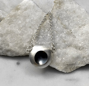 EMMA TALLACK JEWELRY —  Handcrafted Double-Domed, Brushed Sterling Silver Necklace with Oxidized Center — 1.5 centimeters
