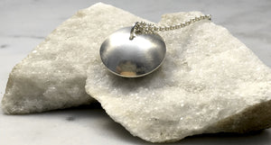 Emma Tallack Sterling Silver Double Domed Pendant with Oxidized Center