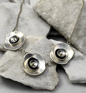 EMMA TALLACK JEWELRY —  Handcrafted Triple Layered Petals Brushed Sterling Silver Necklace