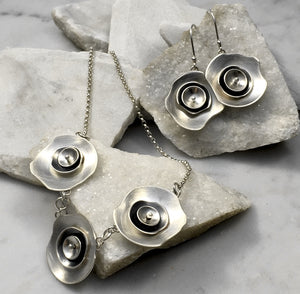 Emma Tallack Triple Layer Petals Brushed Sterling Silver Necklace and Matching Earrings