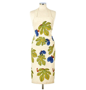 Couleur Nature Artist-Designed, Hand-Printed Fig and Leaves Apron