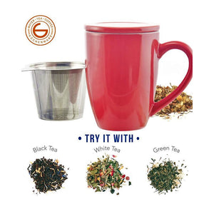 Kassel Ceramic Tea Infuser Mug with Stainless Steel Infuser - 11 ounces - RED — By Grosche