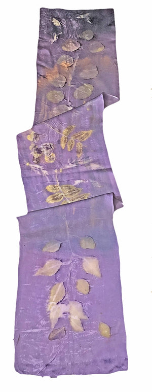 ARTISAN CRAFTED — Hand-Dyed Nature's Diary Silk Scarf - Purple Haze — By Sara Griego