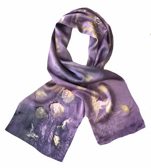 HANDCRAFTED — Hand-Dyed Nature's Diary Silk Scarf - Purple Haze — By Sara Griego